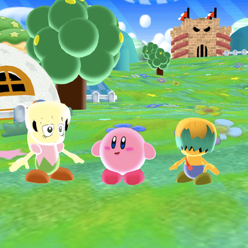 Kirby hanging out with Tiff and Tuff by SuperSmashCynderLum