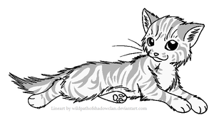 Longhaired Tabby F Lineart by WildpathOfShadowClan