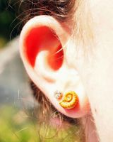 Tiny Ammonite Gold Polymer Clay Earring Studs by kaelby