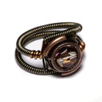 Steampunk copper crystal Ring by CatherinetteRings