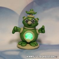 Polymer Clay Alien Figurine - Glow in the Dark LED by KIMMIESCLAYKREATIONS