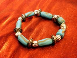 Stretch Turquoise bracelet by moonwolf17