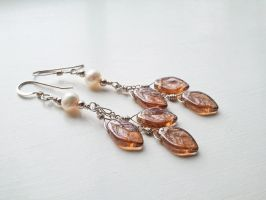 Falling Leaves -Bronze Forest- with Pearl Earrings by QuintessentialArts