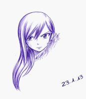 Erza (ballpoint pen) by Chocogirl3