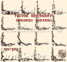 Vector ornaments borders corners 16 LZ by Lyotta