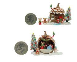 FAIRY HOUSE CHRISTMAS TREE MOUSE TEDDY BEAR DIORAM by WEE-OOAK-MINIATURES
