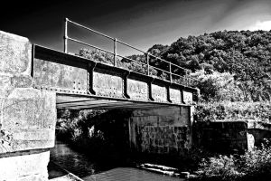 Monochrome canal bridge by close101
