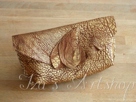 Golden Leaves Small Leather Pouch by izasartshop