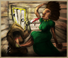 Servant Chopping  Up Ugly Dame by muk1