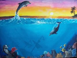 Dolphins and Sunset by Samwise45