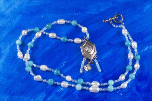 Necklace Blue and White Freshwater Pearl Beaded by hottyblond2000