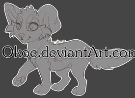 Pay-to-use Lineart Canine base 20 points by Okoe