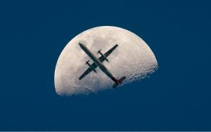 Airplane Moon Wallpaper by monsteer