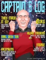 Captain's Log: Jean-Luc Picard Magazine Cover by The-Great-Geraldo