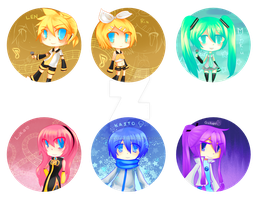 VOCALOID - buttons - by Nina-Akamatsu