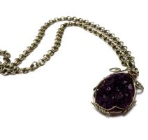 Wire Wrapped Necklace with Amethyst Druzy by hyppiechic