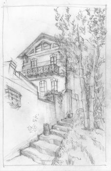 House on the Hill (sketch) by KatyAmlie