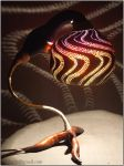 Table lamp III - Wavy colours - by night 2 by Calabarte