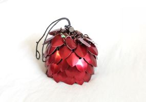 Red Scalemaille Dicebag by SerenFey