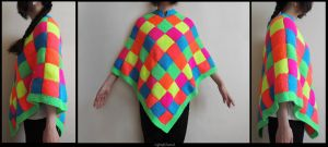 Neon Knitting Poncho by Lightofatunnel