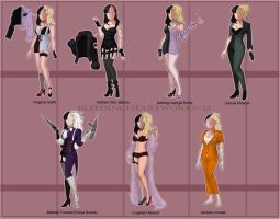 GF: Bianca: All Them Outfits Part I by BleedingHeartworks