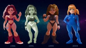 Samus Across the Years by Phobos-Romulus