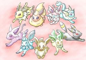 Eeveelutions with mane by MiniDragonfly