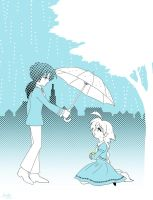 A blue rainy day by Mangaka-chan