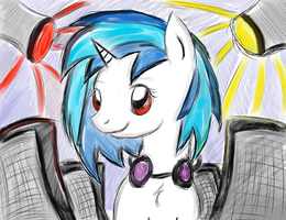 Vinyl Scratch messy sketch xD by CKittyKat98