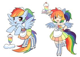 9 collections of MLP maids---rainbowdash by kongyi