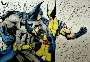 BATMAN VS WOLVERINE COLOURED by BUMCHEEKS2