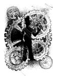 Ink Scratch Steampunk Gentleman With Gears by Eseopia