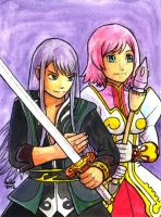 Sketchcard PXZ Yuri and Estellise by fedde
