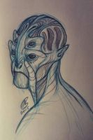 Batarian doodle  by Spighy