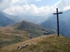 Mountain 276 - cross on the top of mountains by Momotte2stocks