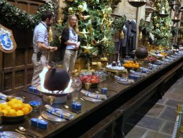 great hall Xmas dinner hogwarts by Sceptre63