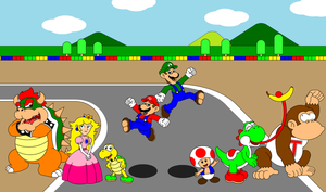 The cast of Super Mario Kart by DarkDiddyKong