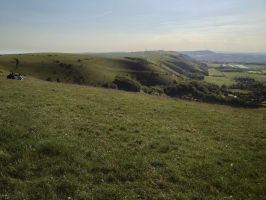 Devils dyke - West Sussex looking west by Fragsey