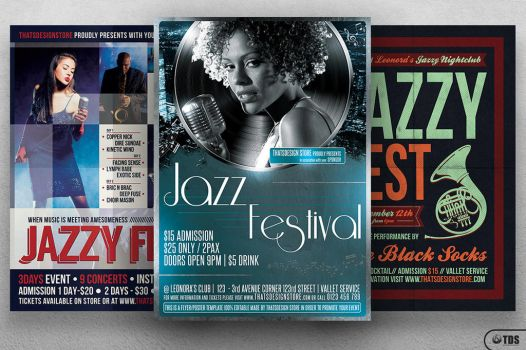 Jazzy Fest Flyer Bundle by Thats-Design