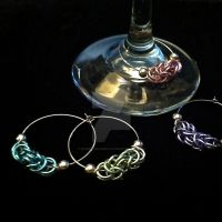 Pastel Chainmaille Wine Charms by Rosie-Periannath