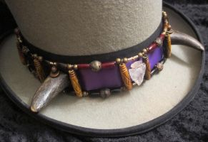 Buffalo-Horned Crystal Arrowhead Hatband 2 by Windthin
