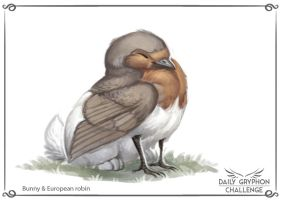 Gryphon Challenge 12 : Bunny and european robin by GaiasAngel