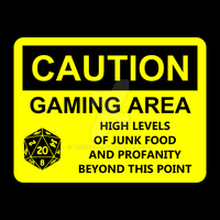 Gaming Area Caution Sign Decal or T-shirt by Pegbeard