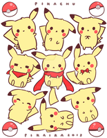 Pikachu Sticker Sheet by pikaira