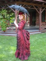 Ruby Taffeta 1880s Ensemble by jeriquan