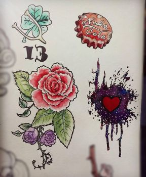 Some watercolor tattoo designs by thehotmageaeris