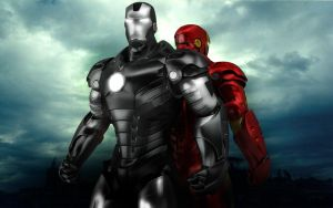War Machine and Iron Man by stefanmarius