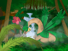 Tropius in the Mist by TheProtobabe