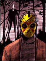 Slenderman VS Jason Voorhees by Cageyshick05