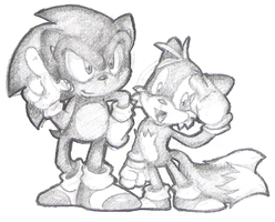 sonic n tails: pencil shading by Purp1eDragon